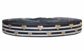 Elastisch band zwart witte strepen, gouden hartjes 16 mm per 0,5 meter