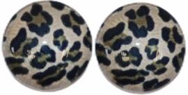 12 mm glascabochon panter beige/zwart per 2 stuks