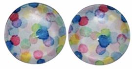 Glas flatback cabochon 12mm confetti per 2 stuks