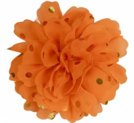 Stoffen bloem: neon oranje met gouden stip 10 cm