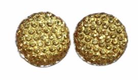 Flatback rondje 12mm shiny gold, per 2 stuks