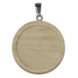 Setting blank hout 25 mm met haakje, per stuk