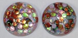 Cabochon shiny confetti 10 mm, per 2 stuks