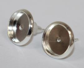 Oorbellen zilverkleur  14 x 12mm met setting 10mm, per paar.