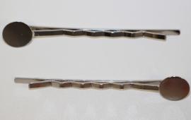 Schuifspeld 55mm met plakvlak 10mm zilverkleur, per stuk