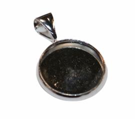 Bedeltje met setting 12 mm zilver per stuk