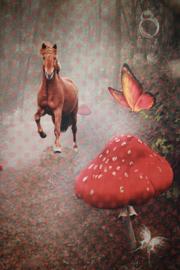 Tricot paneel digitale tricot: Paard in bos 120x150 cm Stenzo
