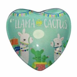 Hart glascabochon Llama & cactus 25 mm