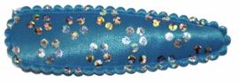 kniphoesje aquablauw met zilveren bloemetjes satijn 5 cm
