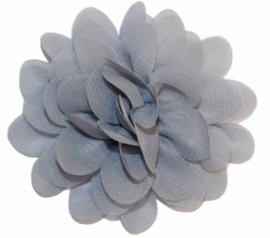Stoffen bloem 7 cm grijs