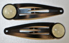 Klik-klak haarspeldje zwart 5,5 cm met 12 mm cabochon setting