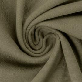 Legergroene boordstof. Rondgebreid 48 cm. Per 25 cm