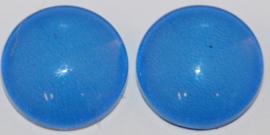 Glas flatback cabochon 12 mm blauw per 2 stuks