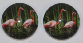Glas cabochon flamingo's 10 mm, 2 stuks