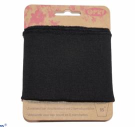 Cuff zwart fijne ribbel 110 x 6,5 cm