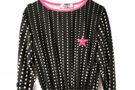 Jurk zwart wit gestipt met roze ster maat 140