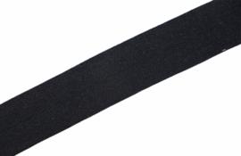 Elastisch biaisband/vouwtres MAT kleur black 20 mm per 0,5 meter