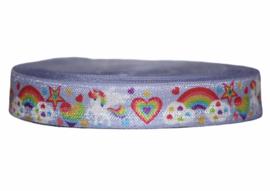 Elastisch band lila met eenhoorn/regenboog 16 mm per 5 meter