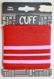 Cuff two stripes rood-roze 7x110 cm