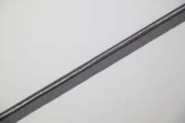 Elastisch paspelband glans/mat grey, per meter