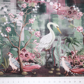 Digitale print French Terry tricot : witte reiger (Stenzo), per 25 cm