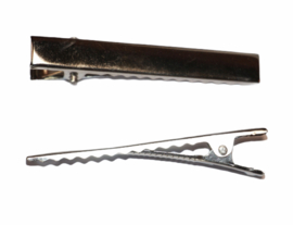 Alligator haarspeldjes rechthoek 55 x 9 mm zilverkleur, per stuk