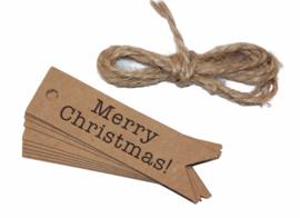 Merry Christmas bruine labels (per 10)