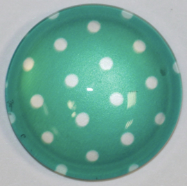 Glascabochon 20mm turquoise met witte stip
