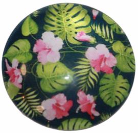 Glas cabochon 25mm: bloem roze en gatenplant