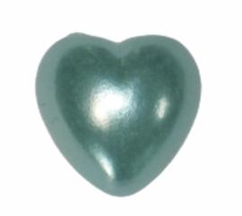 Flatback hartje aquablauw 10mm, per stuk