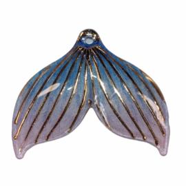Zeemeerminstaart blauw/lila met gaatje  25x30 mm, per stuk
