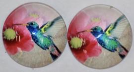 14 mm glascabochon vogel, per 2 stuks