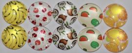 Glas cabochons 12 mm fruit (2): 10 stuks