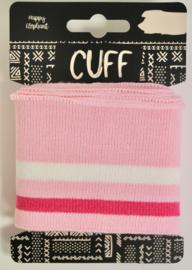 Cuff two stripes lichtroze-fuchsiaroze/offwhite 7x110 cm