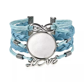 Dames armband blauw love, met setting 25 mm