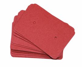 Oorbellen kaartjes steenrood 35x25 mm, per 10 stuks