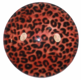 Glascabochon 20mm panterprint roestbruin