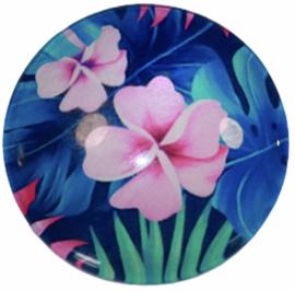Glas cabochon 25mm: Pink flower