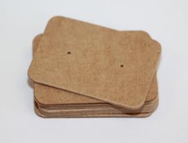 Oorbellen kaartjes bruin 35x25 mm, per 10 stuks