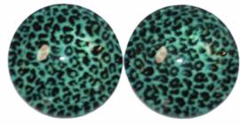 12 mm glascabochon panter turkoois, per 2 stuks