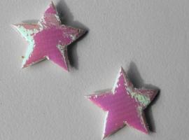 Ster applicatie 18 mm glimmend wit-parelmoer per 5