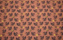 Tricot : Roestbruin met eekhoorns (Stenzo), per 25 cm