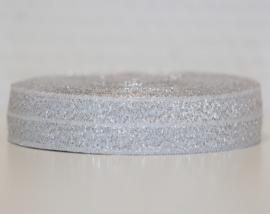 Elastisch band zilver 16 mm per 0,5 meter