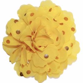 Stoffen bloem 10 cm geel met gouden stipjes