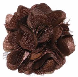 Tule bloem 5 cm donkerbruin