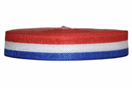 Elastisch band rood wit blauw glans 16 mm per 0,5 meter