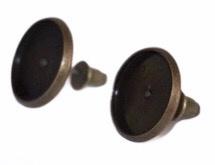 Oorbellen brons 14 x 14mm met knopje: cabochon setting 12mm per paar