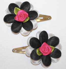 Haarclipjes bloem grijs/zwart en roosje fuchsia