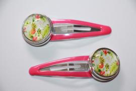 haarspeldjes roze tropical met drukker 18mm