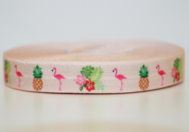 Elastisch band flamingo, ananas en bloemen perzik kleur 16 mm per 0,5 meter